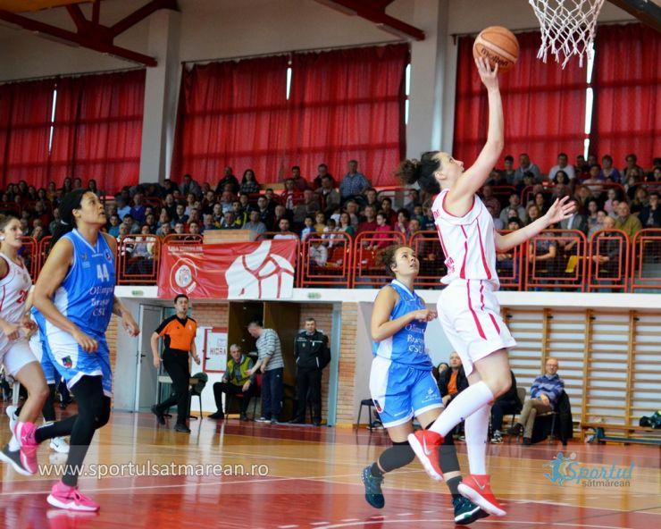 Baschet | CSM Satu Mare a câștigat primul meci din semifinala cu Olimpia CSU Brașov
